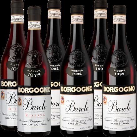 Borgogno Barolo Riserva 1978, 1982, 1998 Barolo Riserva, 6er Holzkiste mit je 2 Flaschen