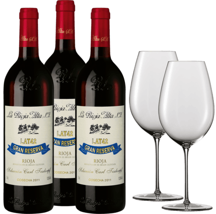 La Rioja Alta LAT 42 Gran Reserva Paket 3 Fl.u. Zwiesel 1872 Enoteca Rotwein Glas, 2er Set 2011
