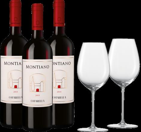 Exklusives Montiano-Falstaff-Paket 3 Fl.u. Zwiesel 1872 Enoteca Rotwein Glas, 2er Set