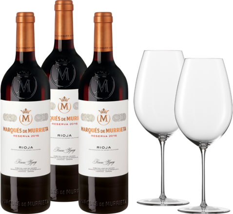 Marques de Murrieta Paket 3 Fl.u. Zwiesel 1872 Enoteca Rotwein Glas, 2er Set 2016