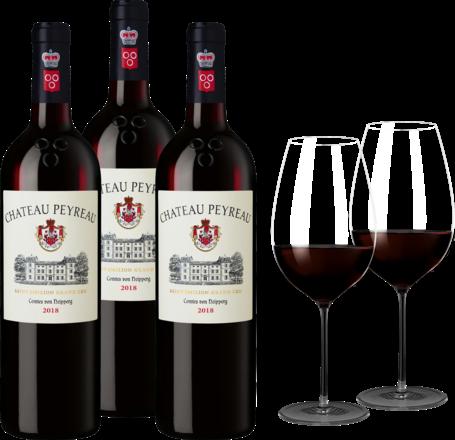 Peyreau Paket 3 Fl.u. Zwiesel 1872 Enoteca Bordeaux Glas,2er Set