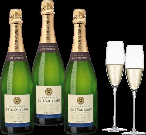 Lété-Vautrain Champagnerpaket 3 Fl.u. Zwiesel1872 Enoteca Schaumweinglas,2er Set