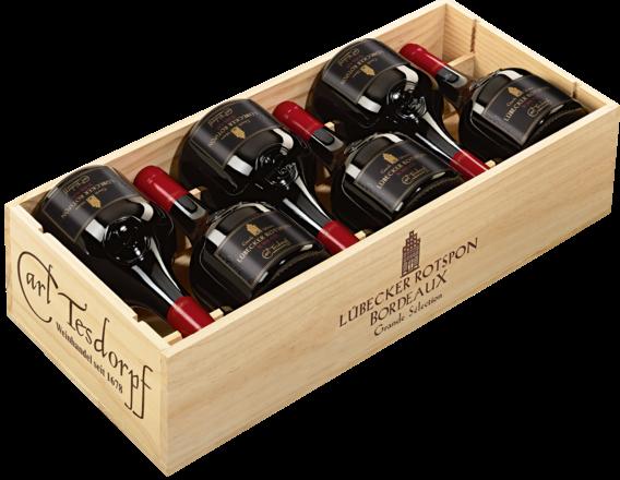Lübecker Rotspon Grande Sélection Bordeaux AOP, 12er Holzkiste 2019