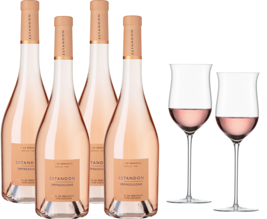 Estandon Impressions Rosé Paket 4 Fl. u. Enoteca Roséglas 2er Set 2020