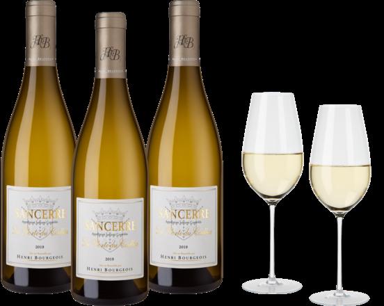 La Porte du Caillou Paket 3 Fl. u. Enoteca Sauvignon Blanc Glas 2er Set 2019