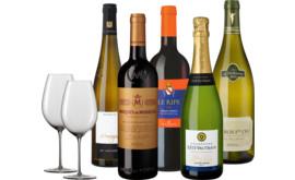 Unsere besondere Wein-Auslese 5 Fl. u. Zwiesel 1872 Enoteca Rotweinglas im 2er
