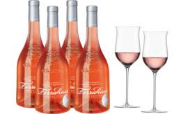 Bulgarini Rosé-Paket 4 Fl. u. Enoteca Rosé Glas 2er Set 2020